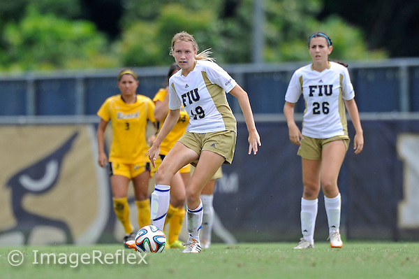 21 September 2014:  FIU Defender Sara Stewart (19) advances the ball in the second half as the the Long Beach State University 49ers defeated the FIU Golden Panthers, 3-1, at University Park Stadium in Miami, Florida.