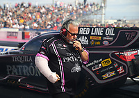 Oct 28, 2016; Las Vegas, NV, USA; Tommy Delago crew chief for NHRA funny car driver Alexis DeJoria during qualifying for the Toyota Nationals at The Strip at Las Vegas Motor Speedway. Mandatory Credit: Mark J. Rebilas-USA TODAY Sports