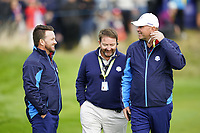 Graeme McDowell (Team Europe Vice-Captain) and Thomas Bjorn (Team Europe Captain) on the 6th during the friday fourballs at the Ryder Cup, Le Golf National, Iles-de-France, France. 27/09/2018.<br /> Picture Fran Caffrey / Golffile.ie<br /> <br /> All photo usage must carry mandatory copyright credit (© Golffile | Fran Caffrey)