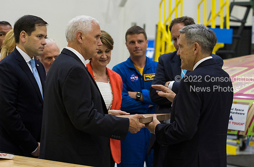 In this photo released by the National Aeronautics and Space Administration (NASA) United States Vice President Mike Pence, left, looks at a component of Orion&rsquo;s heat shield during a visit to the Operations and Checkout Building at Kennedy Space Center (KSC) on Thursday, July 6, 2017 in Cape Canaveral, Florida.  Looking on from left is US Senator Marco Rubio (Republican of Florida).<br /> Mandatory Credit: Aubrey Gemignani / NASA via CNP