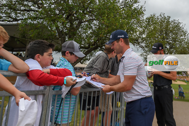 David Lingmerth (SWE) signs autographs for young fans following Round 3 of the Valero Texas Open, AT&T Oaks Course, TPC San Antonio, San Antonio, Texas, USA. 4/21/2018.<br /> Picture: Golffile | Ken Murray<br /> <br /> <br /> All photo usage must carry mandatory copyright credit (© Golffile | Ken Murray)