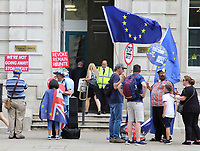 Anti Brexit Protesters outside the Cabinet Office in Whitehall, London on August 7th 2019<br /> <br /> Photo by Keith Mayhew