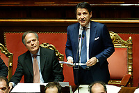 Minister of Foreign Affairs Enzo Moavero Milanesi, Italian Premier Giuseppe Conte<br /> Rome December 19th 2018. Senate. Speech of the Italian Premier about the results of the negotiation with the European Union about the  budget plan.<br /> Foto Samantha Zucchi Insidefoto