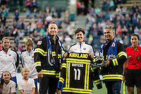 Seattle, WA - Sunday, September 11 2016: Seattle Reign FC midfielder Keelin Winters (11) is recognized prior to a regular season National Women's Soccer League (NWSL) match between the Seattle Reign FC and the Washington Spirit at Memorial Stadium.