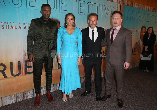 LOS ANGELES, CA - JANUARY 10: Mahershala Ali, Carmen Ejogo, Stephen Dorff, Nic Pizzolatto, at the Los Angeles Premiere of HBO's True Detective Season 3 at the Directors Guild Of America in Los Angeles, California on January 10, 2019. Credit: Faye Sadou/MediaPunch