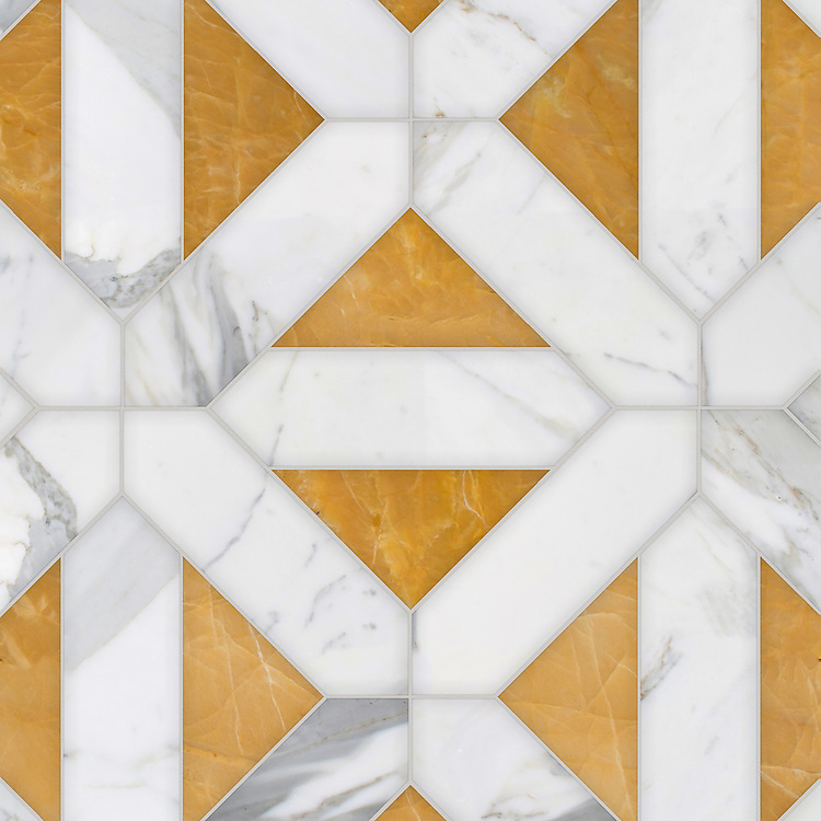 Joie Grand, a hand-cut stone mosaic, shown in polished Xanadu and Calacatta Gold, is part of the Semplice® collection for New Ravenna.