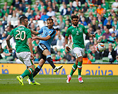 June 4th 2017, Aviva Stadium, Dublin, Ireland; International football friendly, Republic of Ireland versus Uruguay; Cristhian Stuani (Uruguay) cuts in between (Republic of Ireland) defenders Shane Duffy and Cyrus Christie to shoot on goal