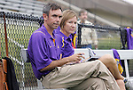 18 September 2009: LSU head coach Brian Lee and assistant coach Debbie Hensley (behind). The University of North Carolina Tar Heels defeated the Louisiana State University Tigers 1-0 at Koskinen Stadium in Durham, North Carolina in an NCAA Division I Women's college soccer game.