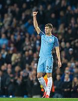 John Stones of Manchester City gives a thumb up at full time during the UEFA Champions League match between Manchester City and Barcelona at the Etihad Stadium, Manchester, England on 1 November 2016. Photo by Andy Rowland / PRiME Media Images.