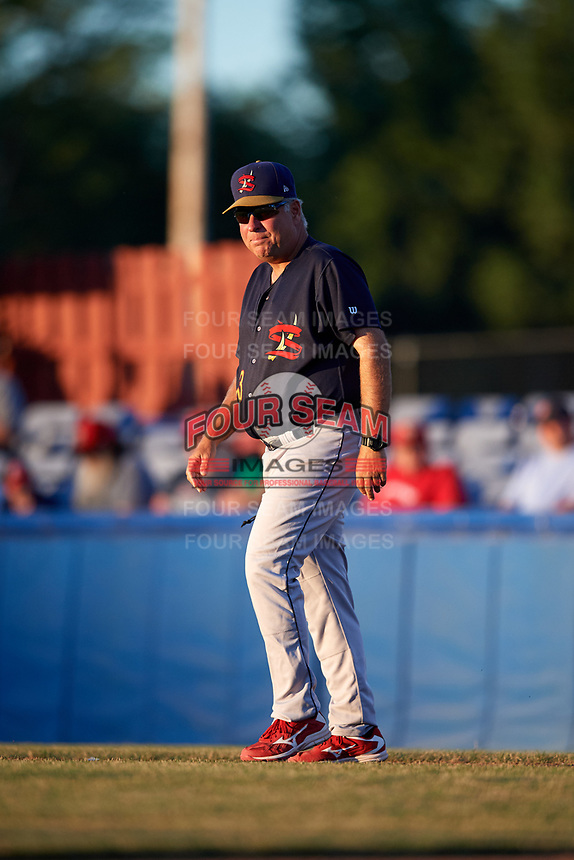State College Spikes manager Joe Kruzel (13) walks to the mound during a game against the Batavia Muckdogs on July 7, 2018 at Dwyer Stadium in Batavia, New York.  State College defeated Batavia 7-4.  (Mike Janes/Four Seam Images)