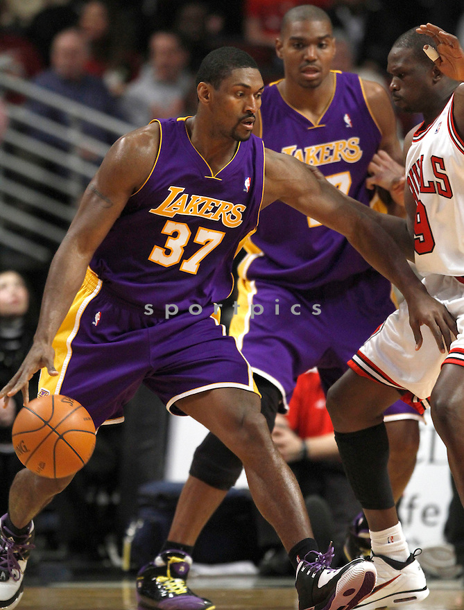 RON ARTEST, in action during the Los Angeles Lakers game against the Chicago Bulls on December 15, 2009 in Chicago, Illinois. Lakers won 96-87..