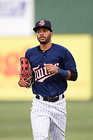 Elizabethton Twins center fielder Gilberto Celestino (25) jogs back to the dugout during a game against the Bristol Pirates on July 29, 2018 at Joe O'Brien Field in Elizabethton, Tennessee.  Bristol defeated Elizabethton 7-4.  (Mike Janes/Four Seam Images)