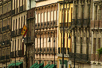 Facades of Spanish colonial buildigs in downtown Mexico City