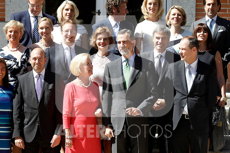 Felipe VI of Spain attends in audience to Ms. Liz Mohn, president of the Bertelsmann Foundation, along with a delegation of German businessmen. May 26,2014. (ALTERPHOTOS/Acero)