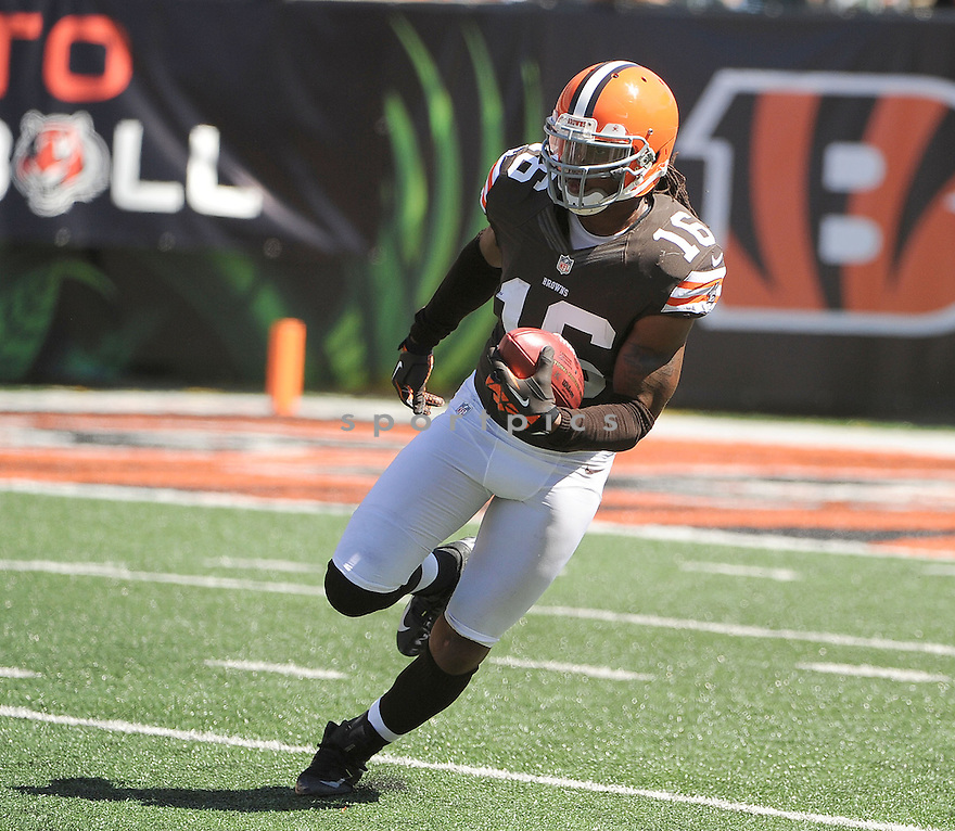 Cleveland Browns Joshua Cribbs (16) in action during a game against the Cincinnati Bengals on September 16, 2012 at Paul Brown Stadium in Cincinnati, OH. The Bengals beat the Browns 34-27.