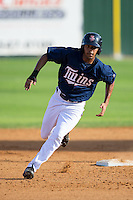 LaMonte Wade (26) of the Elizabethton Twins rounds second base during the game against the Johnson City Cardinals at Joe O'Brien Field on July 11, 2015 in Elizabethton, Tennessee.  The Twins defeated the Cardinals 5-1. (Brian Westerholt/Four Seam Images)