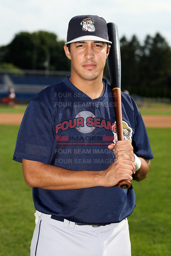 June 21st 2008:  Second baseman Jason Rodriguez of the Mahoning Valley Scrappers, Class-A affiliate of the Cleveland Indians, during a game at Dwyer Stadium in Batavia, NY.  Photo by:  Mike Janes/Four Seam Images