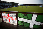 Visiting fans' banners in the away end as Morecambe hosted Plymouth Argyle in a League 2 fixture at the Globe Arena. The stadium was opened in 2010 and replaced Morecambe's traditional home of Christie Park which had been their home since 1921, the year after their foundation. Plymouth won this fixture by 2-0 watched by 2,081 spectators, in a game delayed by 30 minutes due to traffic congestion affecting travelling Argyle fans.