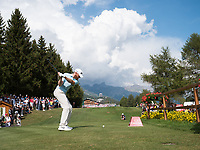 Sebastian Soderberg (SWE) in action on the 18th hole during final round at the Omega European Masters, Golf Club Crans-sur-Sierre, Crans-Montana, Valais, Switzerland. 01/09/19.<br /> Picture Stefano DiMaria / Golffile.ie<br /> <br /> All photo usage must carry mandatory copyright credit (© Golffile | Stefano DiMaria)