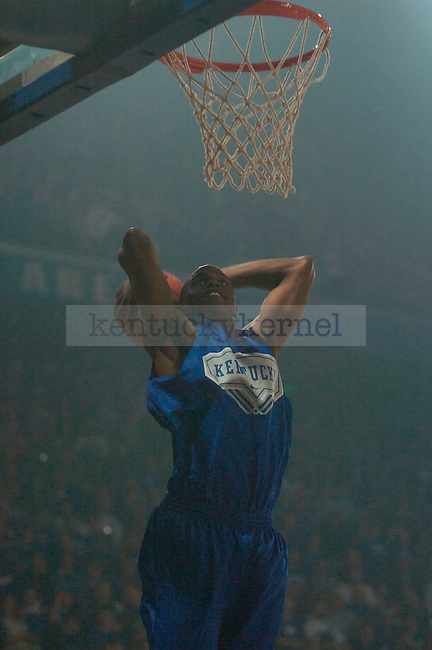 Sophomore guard Darius Miller dunks during warm-ups at Big Blue Madness on Oct., 16, 2009 in Rupp Arena...Photo by Ed Matthews