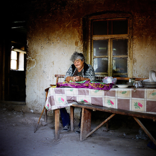 "Sveltlana, 57 years old, is a refugee from Baku. She lives with her husband Albert, 63, from pension. ""We live in such bad condition, my husband has done so much for Karabakh..."" regrets Sveltlana from Shamasur village."