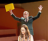 The Trial <br /> by Franz Kafka<br /> adapted by Nick Gill <br /> at The Young Vic Theatre, London, Great Britain <br /> 25th June 2015 <br /> press photocall <br /> <br /> Rory Kinnear as Josef K<br /> <br /> Suzy Kaye as Faye <br /> <br /> Photograph by Elliott Franks <br /> Image licensed to Elliott Franks Photography Services