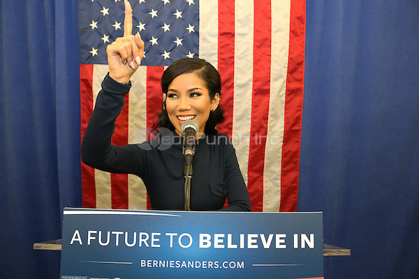 NEW YORK, NY - APRIL 9, 2016 Jhene Aiko attends the Bernie Sanders community conversation at the Apollo Theater, April 9, 2016 in Harlem, New York. Photo Credit: Jamel Johnson / Media Punch