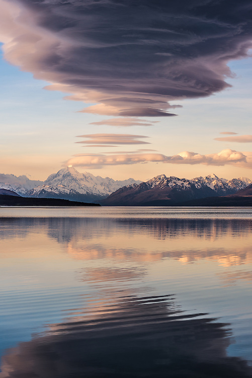 Lenticular Cloud Reflection over Mount Cook and Lake Pukaki, Mackenzie Country, New Zealand - stock photo, canvas, fine art print