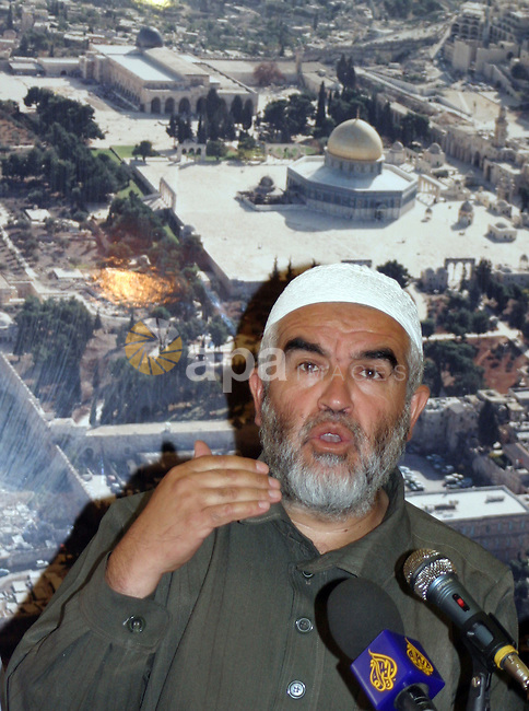 Sheikh Raed Salah, head of the islamic movement in Israel, speechs  during the memorial ceremony of burning Alaqsa mosque in 1969 in the old city of Jerusalem on August 20, 2009.  Photo by Mahfouz Abu Turk