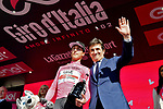Race leader Valerio Conti (ITA) UAE Team Emirates retains the Maglia Rosa at the end of Stage 11 of the 2019 Giro d'Italia, running 221km from Carpi to Novi Ligure, Italy. 22nd May 2019<br /> Picture: Massimo Paolone/LaPresse | Cyclefile<br /> <br /> All photos usage must carry mandatory copyright credit (© Cyclefile | Massimo Paolone/LaPresse)