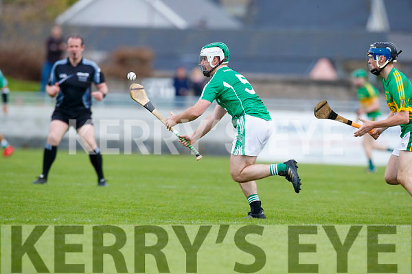 David Goulding Ballyduff in action against Shane Conway Lixnaw in the Senior County Hurling Final in Austin Stack Park on Sunday