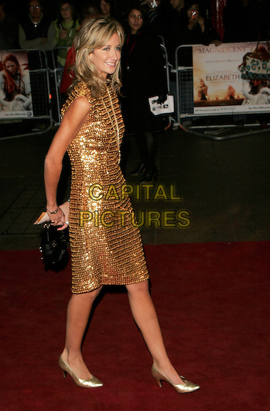 "LADY VICTORIA HERVEY.UK Premiere of ""Elizabeth - The Golden Age"" at the Odeon Leicester Square, London, England, October 23rd 2007..full length gold dress shoes side.CAP/AH.©Adam Houghton/Capital Pictures."