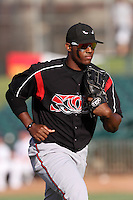 Rymer Liriano #28 of the Lake Elsinore Storm during a game against the Lancaster JetHawks at Clear Channel Stadium on May 11, 2012 in Lancaster,California. (Larry Goren/Four Seam Images)