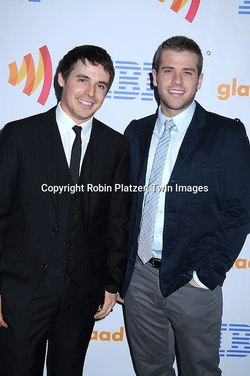 Brett Claywell and Scott Evans of One Life to Live posing for photographers at The 21st Annual GLAAD Media Awards on March 13, 2010 at The Marriott Marquis Hotel in New York City. The Honorees wereJoy Behar and Cynthia Nixon.