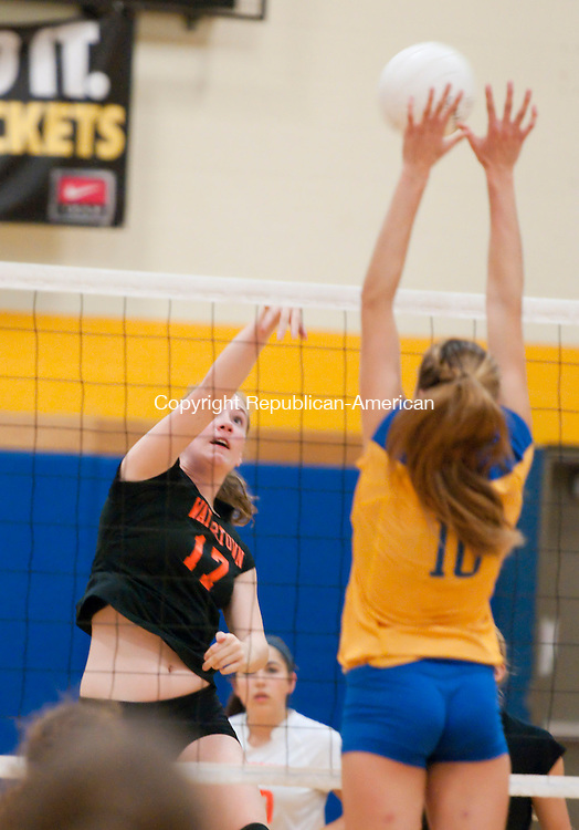 WINSTED, CT-092914JS05-  Watertown's Mary Zaborowski (17) gets her shot blocked by Gilbert's  Ali Brochu (10) during their game Monday at the Gilbert School in Winsted<br /> Jim Shannon Republican-American