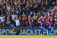 Wilfred Zaha of Crystal Palace celebrates the opener during Crystal Palace vs Brighton & Hove Albion, Premier League Football at Selhurst Park on 14th April 2018
