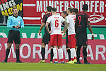 30.11.2019, RheinEnergieStadion, Koeln, GER, 1. FBL, 1.FC Koeln vs. FC Augsburg,<br />  <br /> DFL regulations prohibit any use of photographs as image sequences and/or quasi-video<br /> <br /> im Bild / picture shows: <br /> warten auf den Videobeweis Schiedsrichter / referee Tobias Stieler (SR)Marco Höger / Hoeger (FC Koeln #6),  Rafael Czichos (FC Koeln #5),   Sergio Córdova (FC Augsburg #9),  <br /> <br /> Foto © nordphoto / Meuter