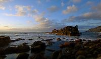 Rocks in the sea at dusk, El Hiero, Canary Islands, Spain.