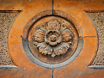 Flower detail, Façade of the theater, Sculpted detail, Ravenna, Italy