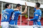Hamilton Accies v St Johnstone...31.10.15  SPFL  New Douglas Park, Hamilton<br /> Graham Cummins celebrates his second goal with Joe Shaughnessy and Michael O'Halloran<br /> Picture by Graeme Hart.<br /> Copyright Perthshire Picture Agency<br /> Tel: 01738 623350  Mobile: 07990 594431