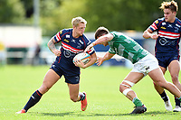 Lloyd Hayes of Doncaster Knights takes on the Newcastle Falcons defence. Pre-season friendly match, between Doncaster Knights and Newcastle Falcons on August 25, 2018 at Castle Park in Doncaster, England. Photo by: Patrick Khachfe / Onside Images