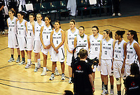 The Tall Ferns line up before the match during the International women's basketball match between NZ Tall Ferns and Australian Opals at Te Rauparaha Stadium, Porirua, Wellington, New Zealand on Monday 31 August 2009. Photo: Dave Lintott / lintottphoto.co.nz