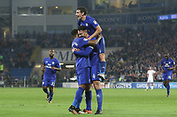 Sean Morrison of Cardiff City celebrates scoring his sides third goal of the match with team mate Nathaniel Mendez-Laing during the Sky Bet Championship match between Cardiff City and Leeds United at The Cardiff City Stadium, Cardiff, Wales, UK. Tuesday 26 September 2017