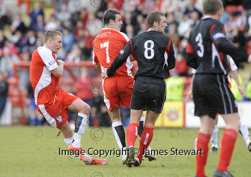 24/05/2009  Copyright  Pic : James Stewart.sct_jspa_01_airdrie_v-Ayr.RYAN STEVENSON SCORES AYR'S FIRST.James Stewart Photography 19 Carronlea Drive, Falkirk. FK2 8DN      Vat Reg No. 607 6932 25.Telephone      : +44 (0)1324 570291 .Mobile              : +44 (0)7721 416997.E-mail  :  jim@jspa.co.uk.If you require further information then contact Jim Stewart on any of the numbers above.........