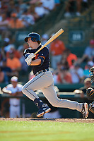 Detroit Tigers left fielder Brandon Dixon (12) hits a single during a Grapefruit League Spring Training game against the Baltimore Orioles on March 3, 2019 at Ed Smith Stadium in Sarasota, Florida.  Baltimore defeated Detroit 7-5.  (Mike Janes/Four Seam Images)