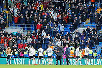 Swansea players applaud Swansea supporters during the Sky Bet Championship match between Cardiff City and Swansea City at the Cardiff City Stadium, Cardiff, Wales, UK. Sunday 12 January 2020
