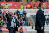 SWANSEA, WALES - APRIL 04:Manager of Hull City, Steve Bruce  gestures  during the Premier League match between Swansea City and Hull City at Liberty Stadium on April 04, 2015 in Swansea, Wales.  (photo by Athena Pictures)