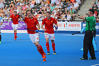 England's Barry Middleton celebrates with the crowd after scoring England's 3rd goal during the Hockey World League Semi-Final match between England and Argentina at the Olympic Park, London, England on 18 June 2017. Photo by Steve McCarthy.