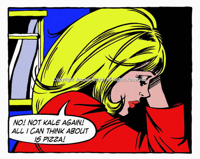 Pop art comic of frustrated young woman dieting ExclusiveImage