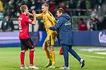 02.11.2019, wohninvest WESERSTADION, Bremen, GER, 1.FBL, Werder Bremen vs SC Freiburg<br /> <br /> DFL REGULATIONS PROHIBIT ANY USE OF PHOTOGRAPHS AS IMAGE SEQUENCES AND/OR QUASI-VIDEO.<br /> <br /> im Bild / picture shows<br /> Nils Petersen (SC Freiburg #18) klatscht mit Mark Flekken (SC Freiburg #26) nach Spielende ab, <br /> Andreas Kronenberg (Torwart-Trainer SC Freiburg), <br /> <br /> Foto © nordphoto / Ewert